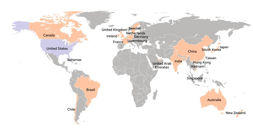 Wells Fargo around the world - Global footprint across 22 countries outside the U.S.
