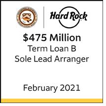 Hard Rock Café $475 million term loan b, February 2021. Sole lead arranger