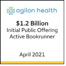 Agilon Health $1.2 billion initial public offering, April 2021. Active bookrunner