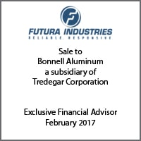 Exclusive Financial Advisor for Futura Industries on its sale to Bonnell Aluminum, a subsidiary of Tredegar Corporation