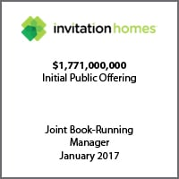 Joint Book-Running Manager for Invitation Homes on its $1.771b initial public offering