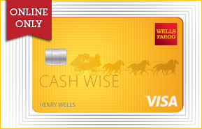 Cash Wise VISA card overlaid with the text online only.