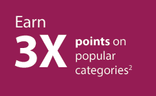 """Earn 3X points on popular categories.2"" on mauve block"