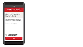 Cell phone displaying the home page of Wells Fargo Business Online