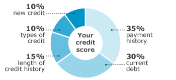 Your credit score is based on your payment history, current debt, length of credit history, types of credit, and new credit.