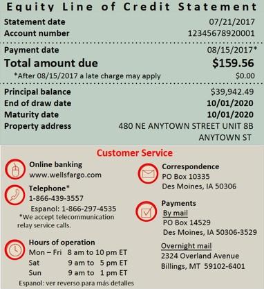 Home Equity Statement: Account Information  Wells Fargo