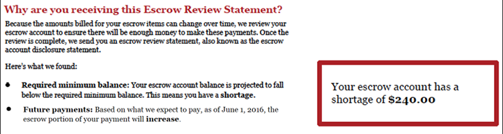 Image showing the first section of the escrow review statement which tells you if your payment amount is changing and if you have an overage or a shortage.
