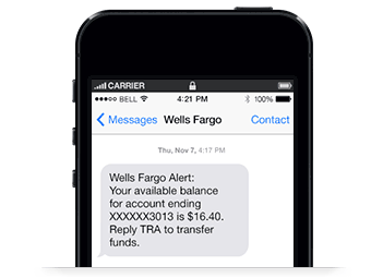 Smart phone screen with an example of a customer's 'BAL ALL' text message, followed by text banking's response showing all checking and savings balances