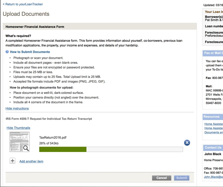 Image of the upload documents page.