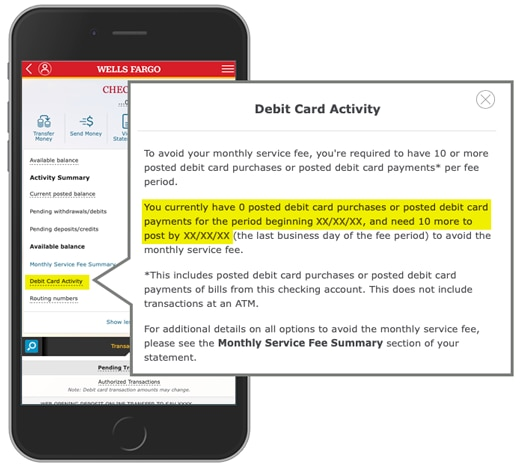 Image is of your logged-in checking account screen, with 'Debit Card Activity' selected. The second paragraph of info 'Debit Card Activity' tells you the number of posted debit card purchases or payments you've made since the beginning of the the current fee period (0), and the number you need by the end of the period (10). The fee period beginning and ending dates are specified in this paragraph.