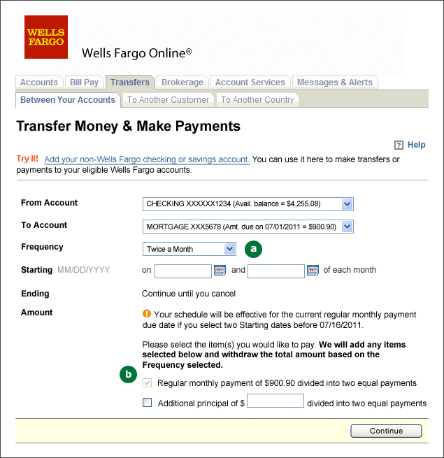 Screenshot of the Transfers and Payments screen. A: Frequency menu with Twice a Month frequency selected. B: Payment amount checkboxes, with Regular monthly payment automatically selected.