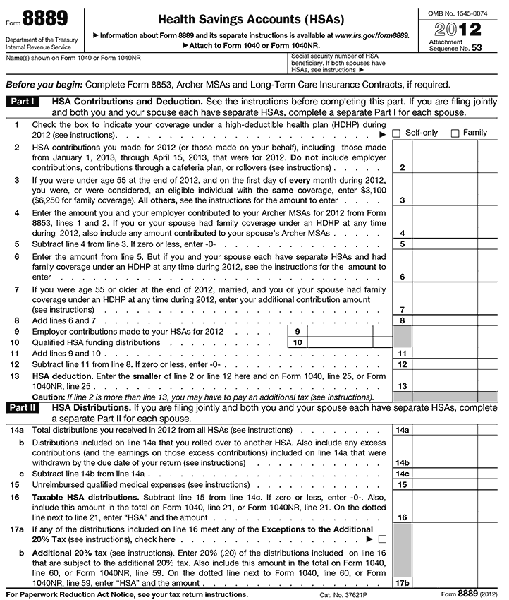 Understanding IRS Form 8889 Health Savings Accounts Wells Fargo – Tax Form