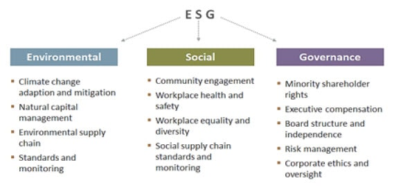 Chart listing the factors and considerations associated with Environmental, Social, and Governance (ESG) investing discipline. Contact your Relationship Manager for more information.