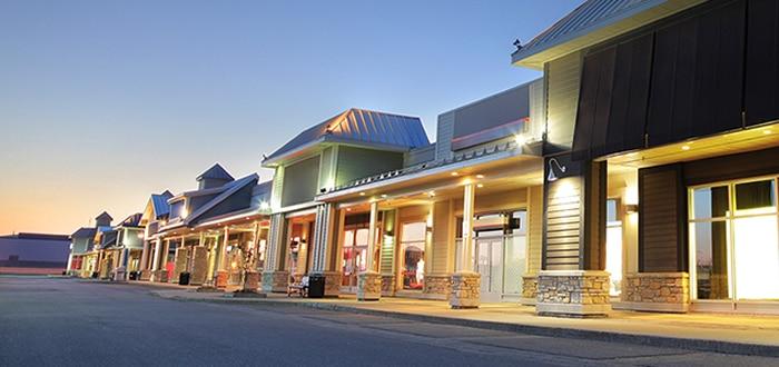 Strip mall at dusk