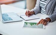 Woman studying charts
