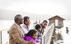 Family on pier